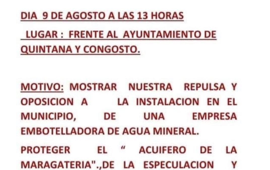 Convocan una concentración en Quintana y Congosto contra la instalación de una embotelladora de agua